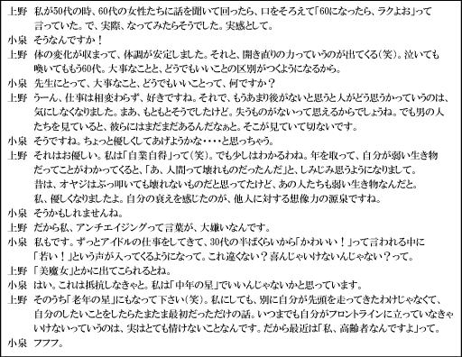 小泉今日子さんの反アンチエイジング発言